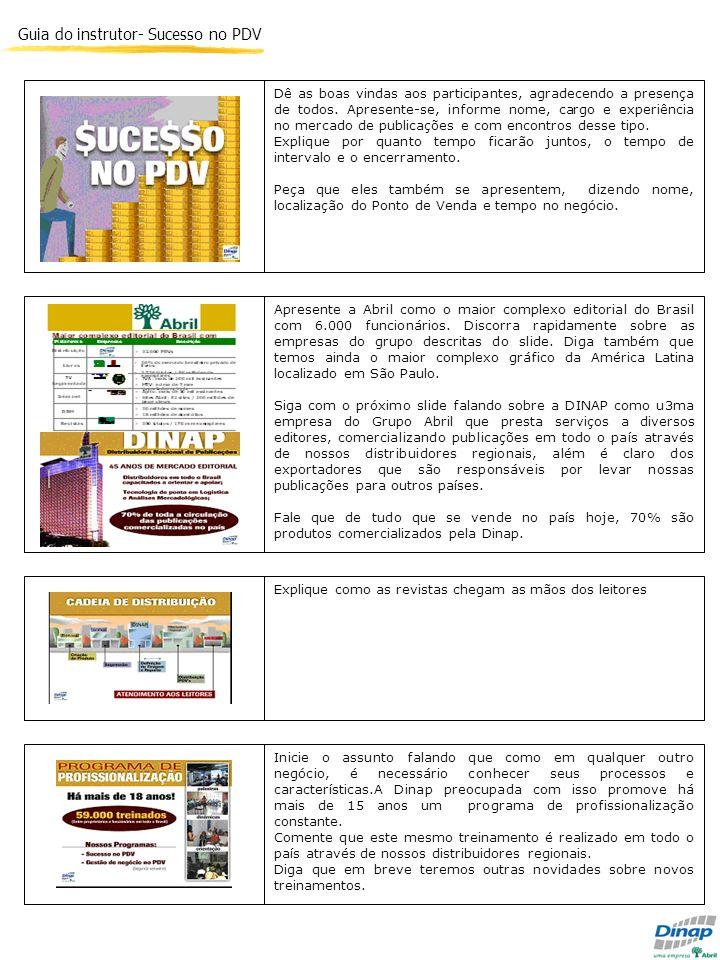 Guia do instrutor- Sucesso no PDV Apresente a Abril como o maior complexo editorial do Brasil com 6.000 funcionários. Discorra rapidamente sobre as em
