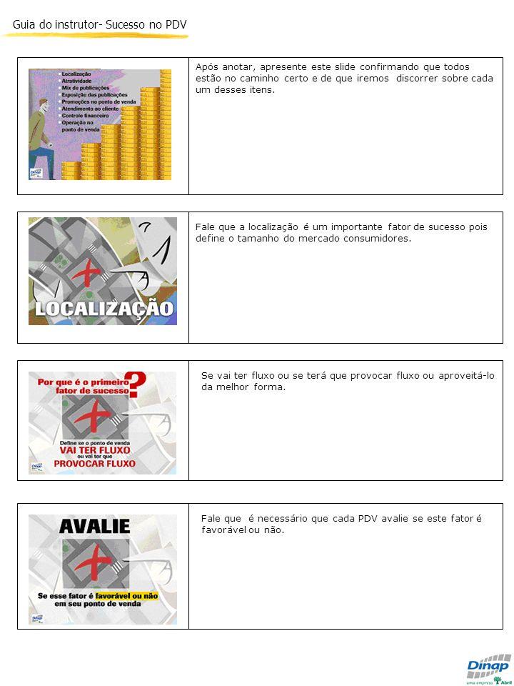Guia do instrutor- Sucesso no PDV Após anotar, apresente este slide confirmando que todos estão no caminho certo e de que iremos discorrer sobre cada