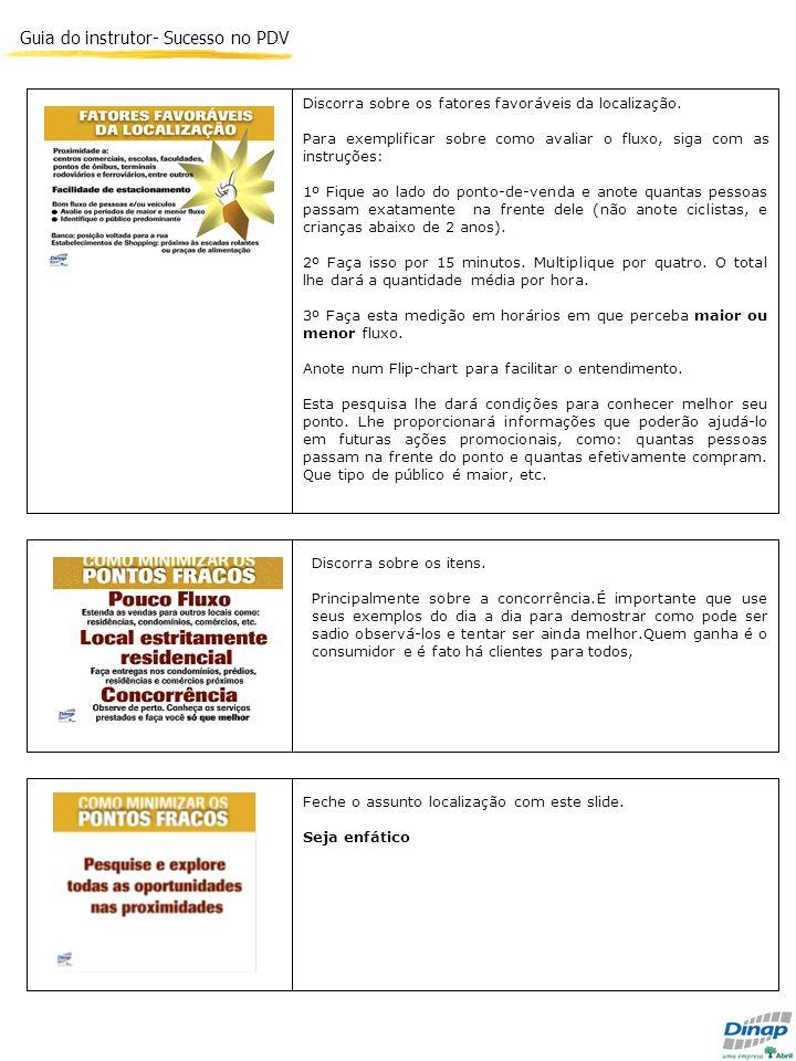 Guia do instrutor- Sucesso no PDV Discorra sobre os fatores favoráveis da localização. Para exemplificar sobre como avaliar o fluxo, siga com as instr