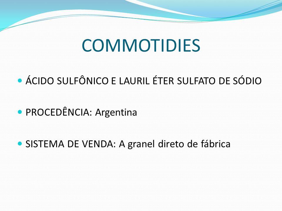 COMMOTIDIES ÁCIDO SULFÔNICO E LAURIL ÉTER SULFATO DE SÓDIO PROCEDÊNCIA: Argentina SISTEMA DE VENDA: A granel direto de fábrica