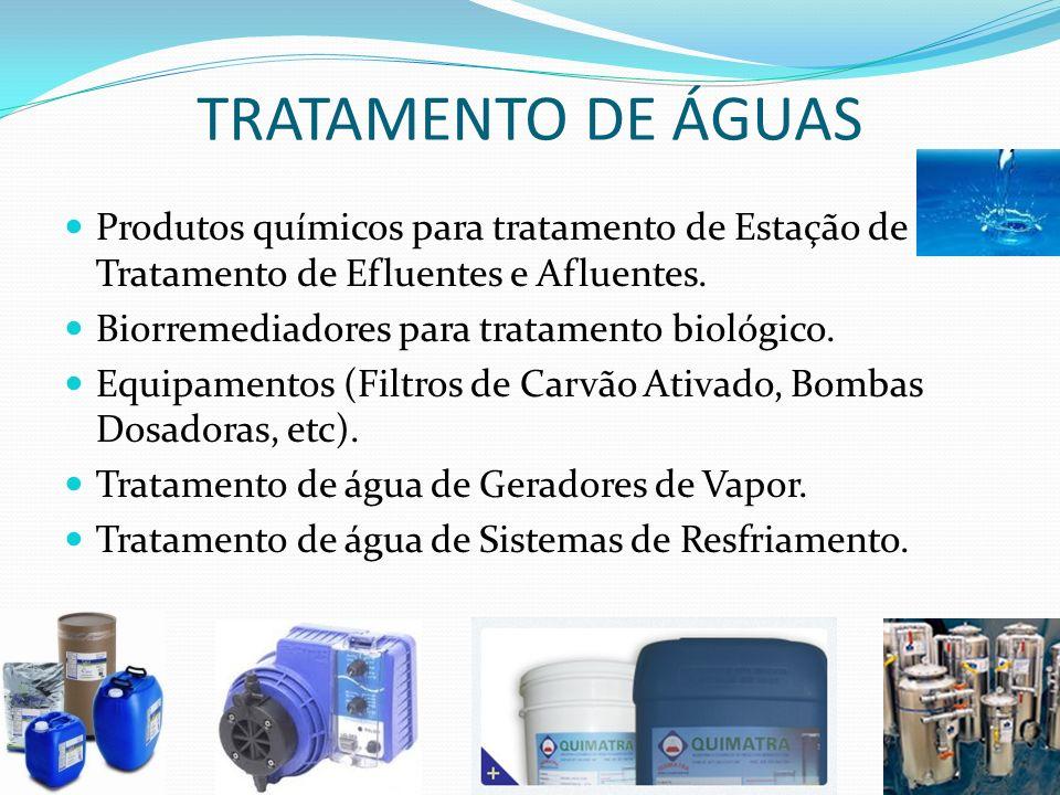 TRATAMENTO DE ÁGUAS Produtos químicos para tratamento de Estação de Tratamento de Efluentes e Afluentes. Biorremediadores para tratamento biológico. E
