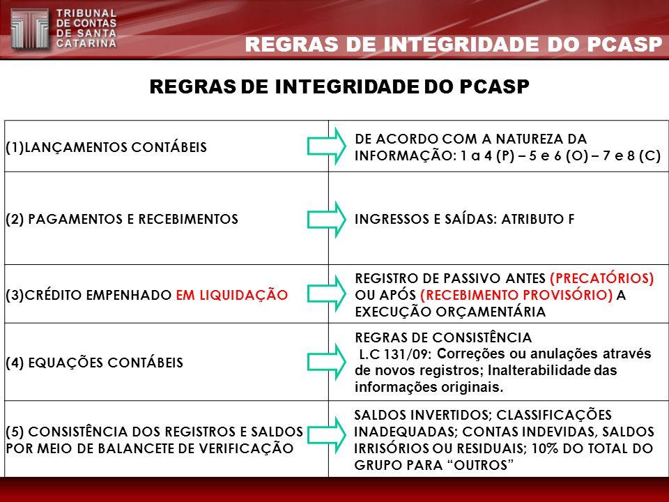 REGRAS DE INTEGRIDADE DO PCASP (1)LANÇAMENTOS CONTÁBEIS DE ACORDO COM A NATUREZA DA INFORMAÇÃO: 1 a 4 (P) – 5 e 6 (O) – 7 e 8 (C) (2) PAGAMENTOS E REC