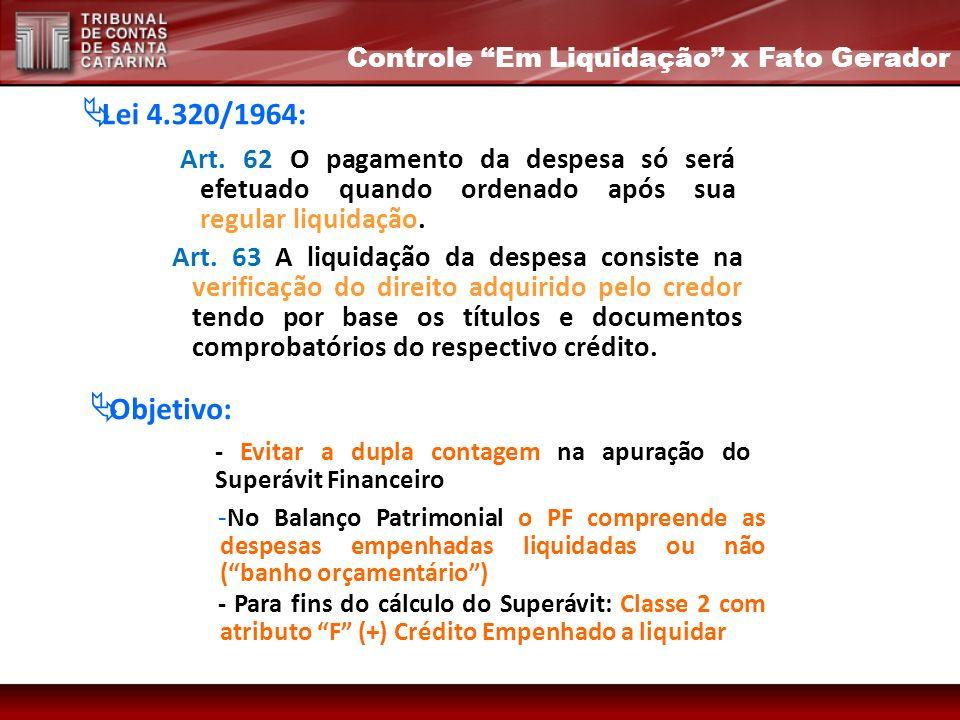 Art. 63 A liquidação da despesa consiste na verificação do direito adquirido pelo credor tendo por base os títulos e documentos comprobatórios do resp