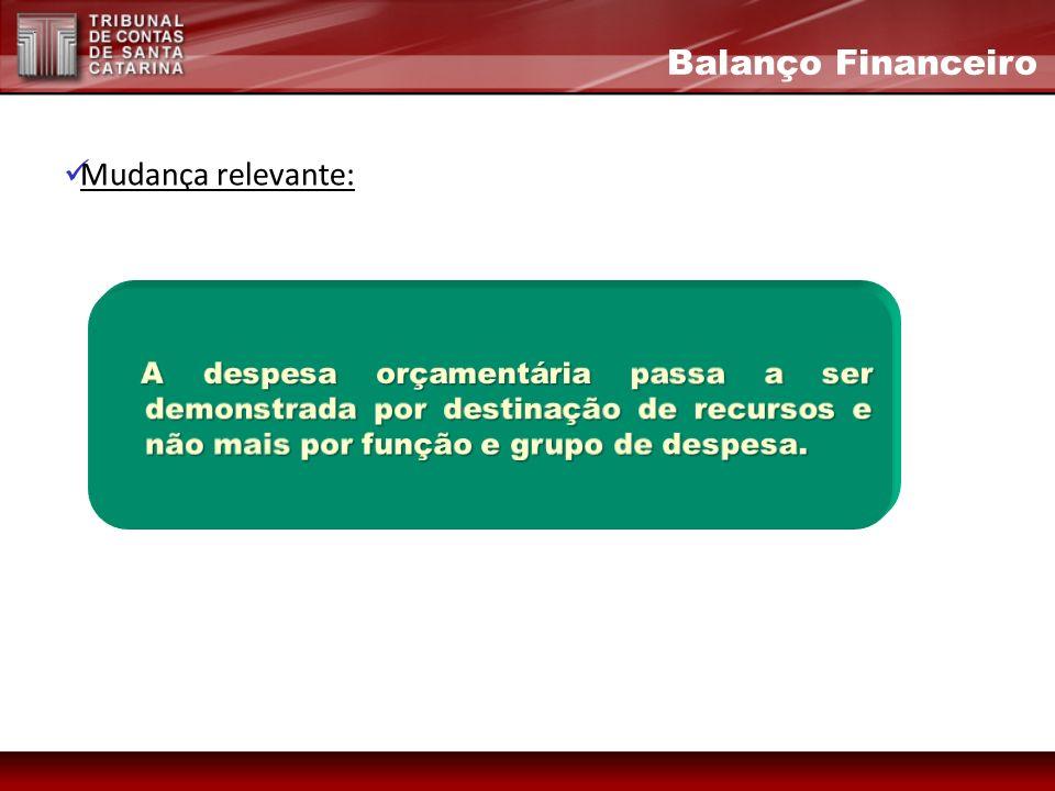 Mudança relevante: Balanço Financeiro