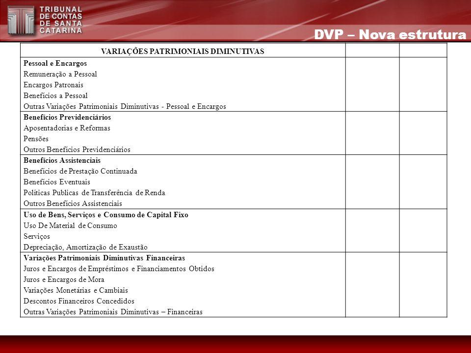 DVP – Nova estrutura VARIAÇÕES PATRIMONIAIS DIMINUTIVAS Pessoal e Encargos Remuneração a Pessoal Encargos Patronais Benefícios a Pessoal Outras Variaç