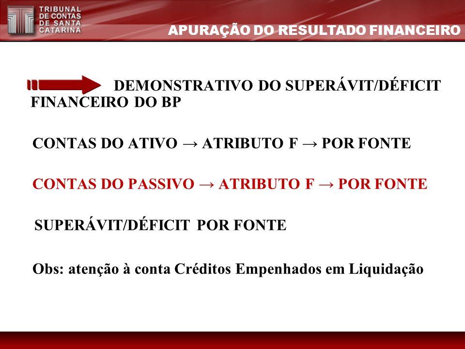 DEMONSTRATIVO DO SUPERÁVIT/DÉFICIT FINANCEIRO DO BP CONTAS DO ATIVO ATRIBUTO F POR FONTE CONTAS DO PASSIVO ATRIBUTO F POR FONTE SUPERÁVIT/DÉFICIT POR