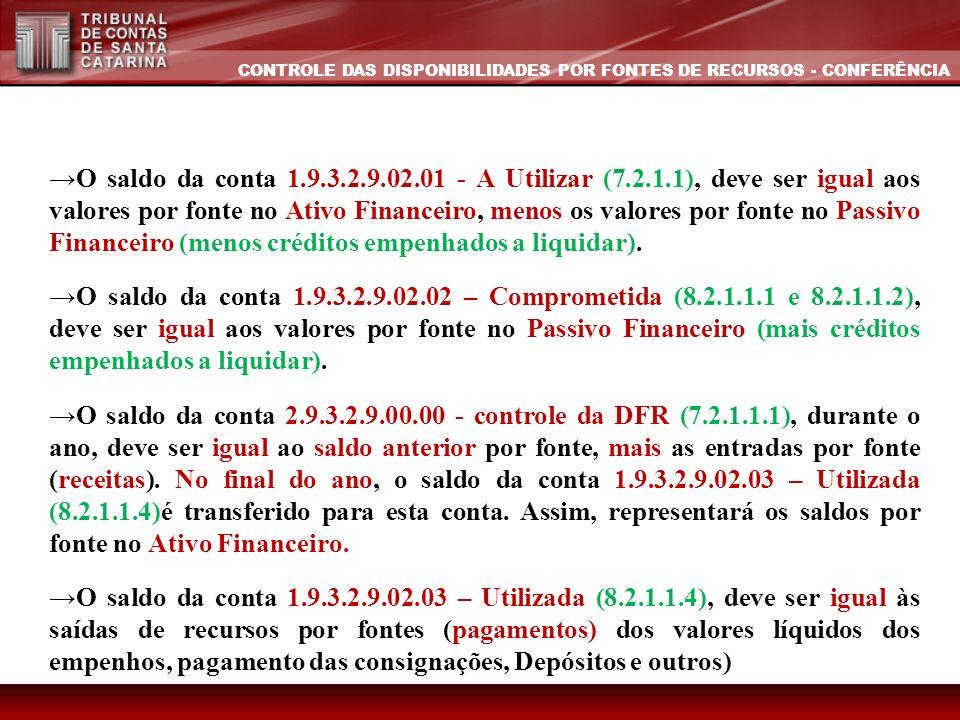 O saldo da conta 1.9.3.2.9.02.01 - A Utilizar (7.2.1.1), deve ser igual aos valores por fonte no Ativo Financeiro, menos os valores por fonte no Passi