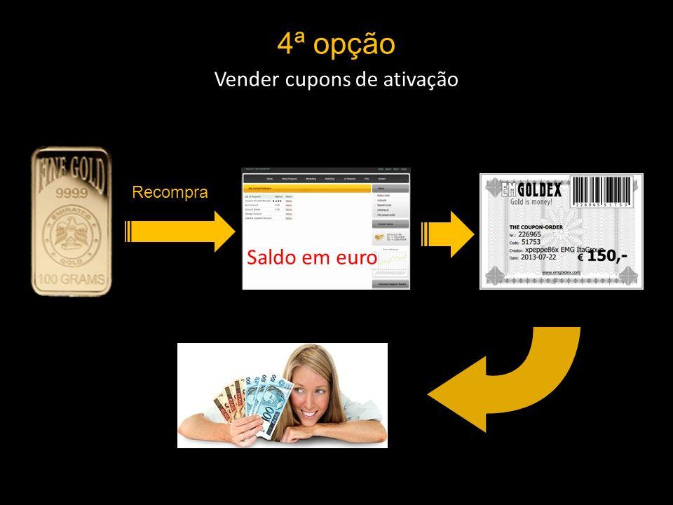4ª opção Vender cupons de ativação 3.100 Saldo em euro Recompra