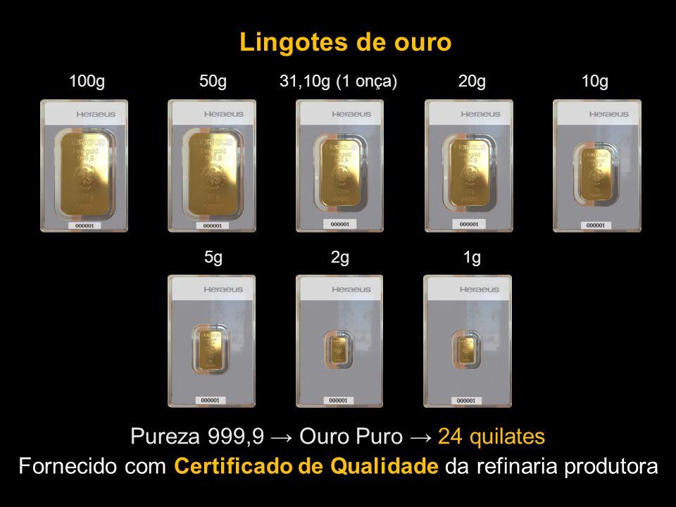 Fornecido com Certificado de Qualidade da refinaria produtora Lingotes de ouro Pureza 999,9 Ouro Puro 24 quilates 100g 50g 31,10g (1 onça) 20g 10g 5g 2g 1g