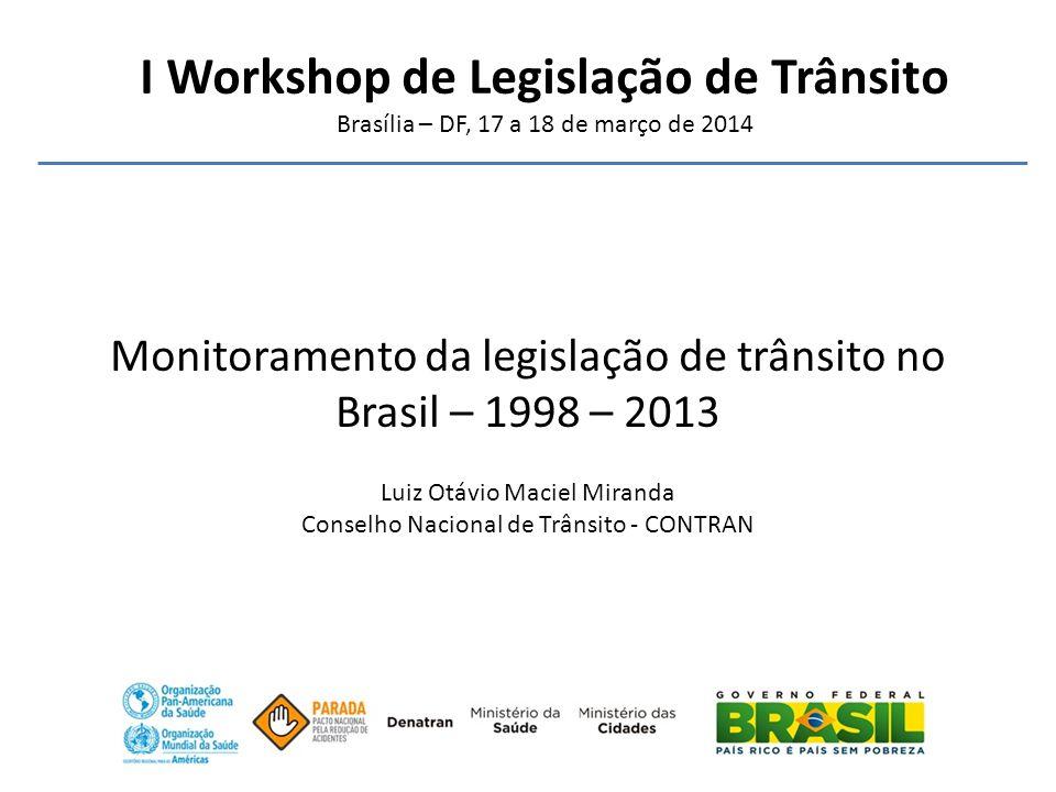 I Workshop de Legislação de Trânsito Brasília – DF, 17 a 18 de março de 2014 Monitoramento da legislação de trânsito no Brasil – 1998 – 2013 Luiz Otáv