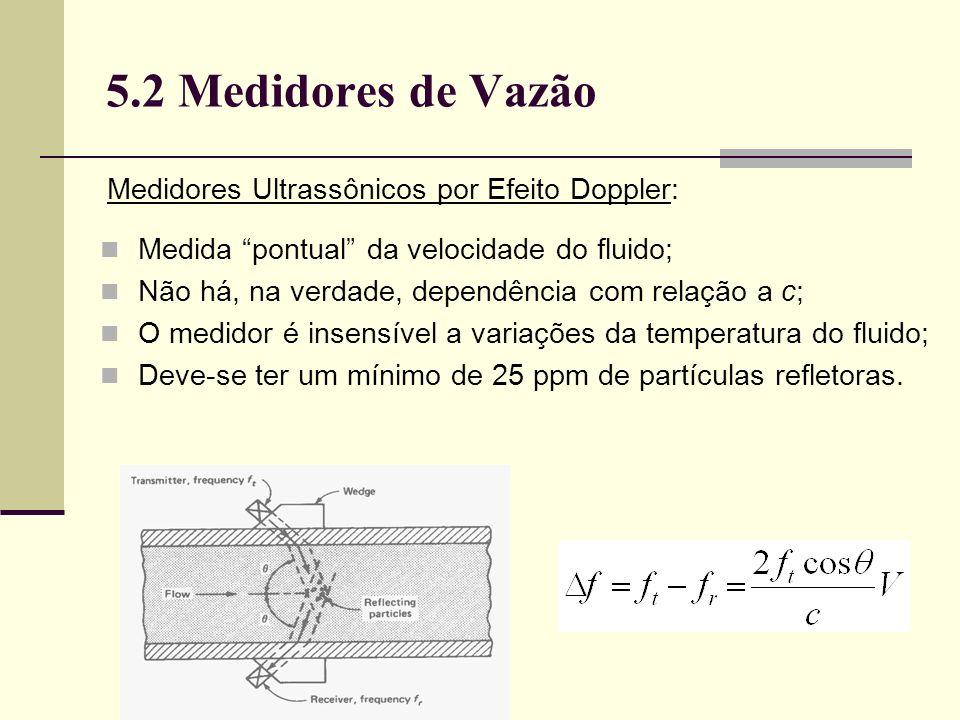 5.2 Medidores de Vazão Medida pontual da velocidade do fluido; Não há, na verdade, dependência com relação a c; O medidor é insensível a variações da temperatura do fluido; Deve-se ter um mínimo de 25 ppm de partículas refletoras.