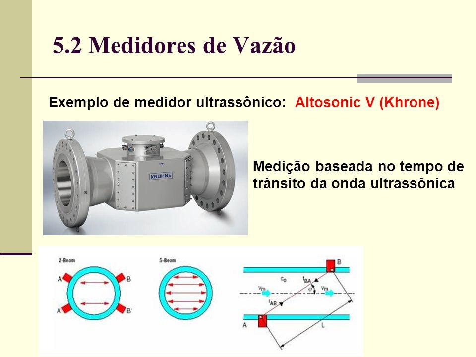 5.2 Medidores de Vazão Exemplo de medidor ultrassônico: Altosonic V (Khrone) Medição baseada no tempo de trânsito da onda ultrassônica