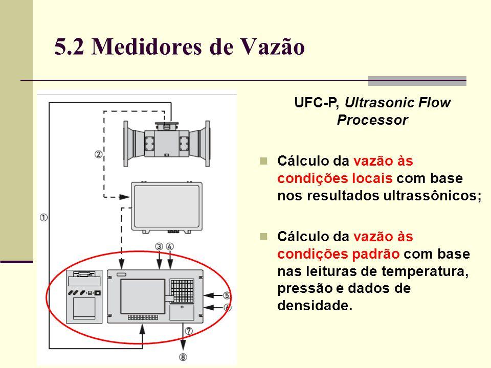 5.2 Medidores de Vazão UFC-P, Ultrasonic Flow Processor Cálculo da vazão às condições locais com base nos resultados ultrassônicos; Cálculo da vazão às condições padrão com base nas leituras de temperatura, pressão e dados de densidade.