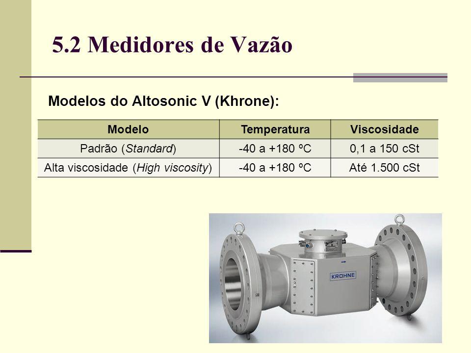 5.2 Medidores de Vazão Modelos do Altosonic V (Khrone): ModeloTemperaturaViscosidade Padrão (Standard)-40 a +180 ºC0,1 a 150 cSt Alta viscosidade (High viscosity)-40 a +180 ºCAté 1.500 cSt