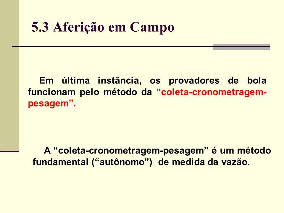 5.3 Aferição em Campo Em última instância, os provadores de bola funcionam pelo método da coleta-cronometragem- pesagem.