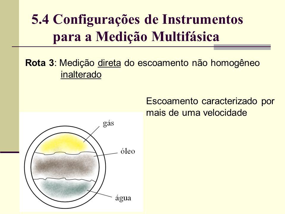 Escoamento caracterizado por mais de uma velocidade Rota 3: Medição direta do escoamento não homogêneo inalterado 5.4 Configurações de Instrumentos para a Medição Multifásica