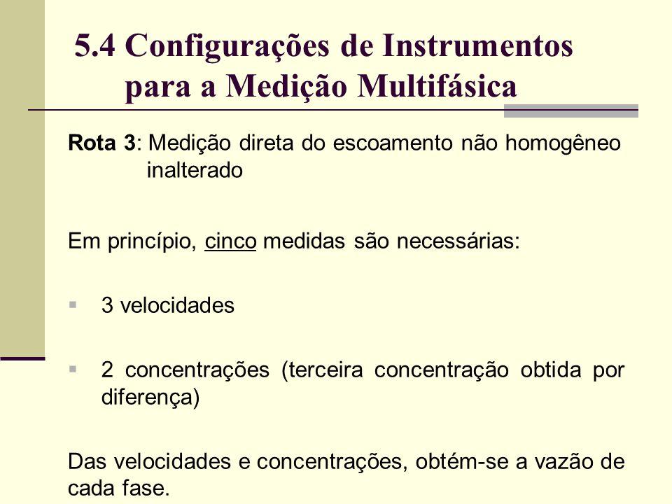 Em princípio, cinco medidas são necessárias: 3 velocidades 2 concentrações (terceira concentração obtida por diferença) Das velocidades e concentrações, obtém-se a vazão de cada fase.