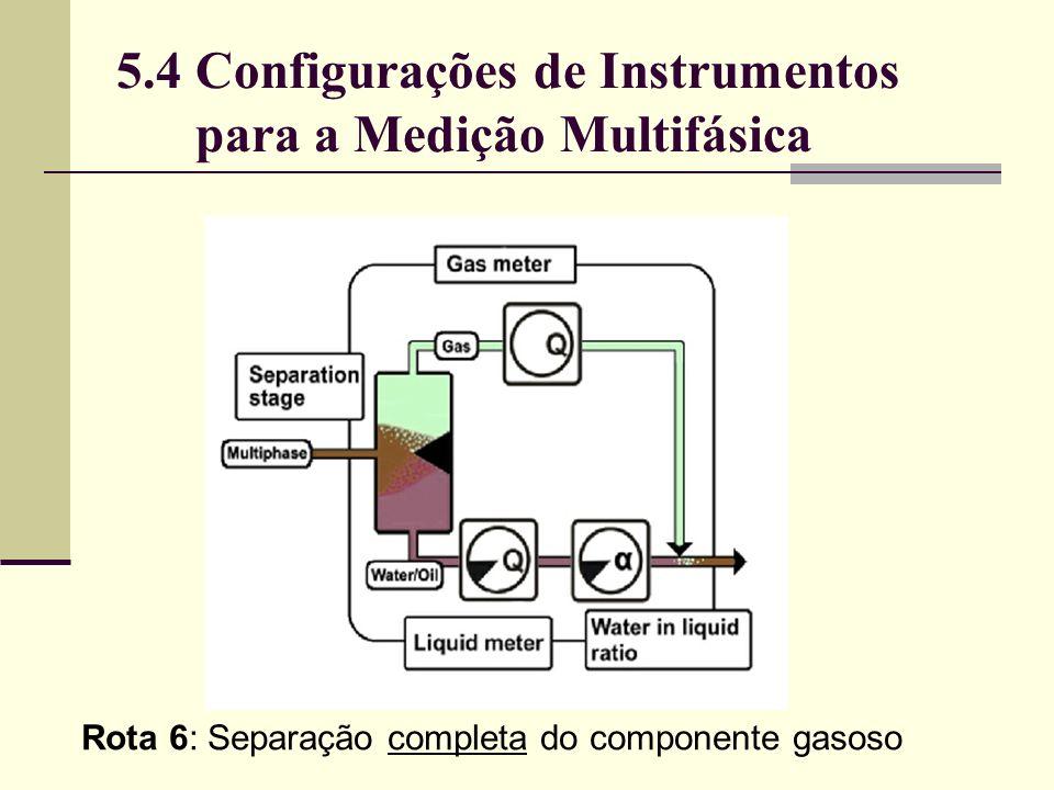 Rota 6: Separação completa do componente gasoso 5.4 Configurações de Instrumentos para a Medição Multifásica