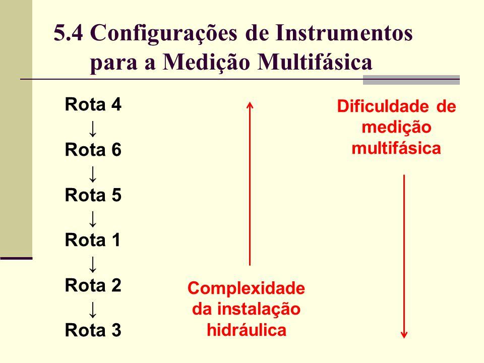 Dificuldade de medição multifásica Complexidade da instalação hidráulica Rota 4 Rota 6 Rota 5 Rota 1 Rota 2 Rota 3 5.4 Configurações de Instrumentos para a Medição Multifásica