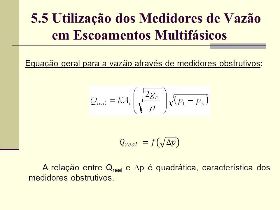 5.5 Utilização dos Medidores de Vazão em Escoamentos Multifásicos Equação geral para a vazão através de medidores obstrutivos: