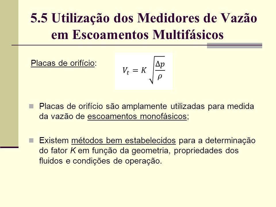 5.5 Utilização dos Medidores de Vazão em Escoamentos Multifásicos Placas de orifício são amplamente utilizadas para medida da vazão de escoamentos monofásicos; Existem métodos bem estabelecidos para a determinação do fator K em função da geometria, propriedades dos fluidos e condições de operação.