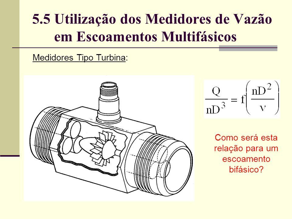 5.5 Utilização dos Medidores de Vazão em Escoamentos Multifásicos Medidores Tipo Turbina: Como será esta relação para um escoamento bifásico?