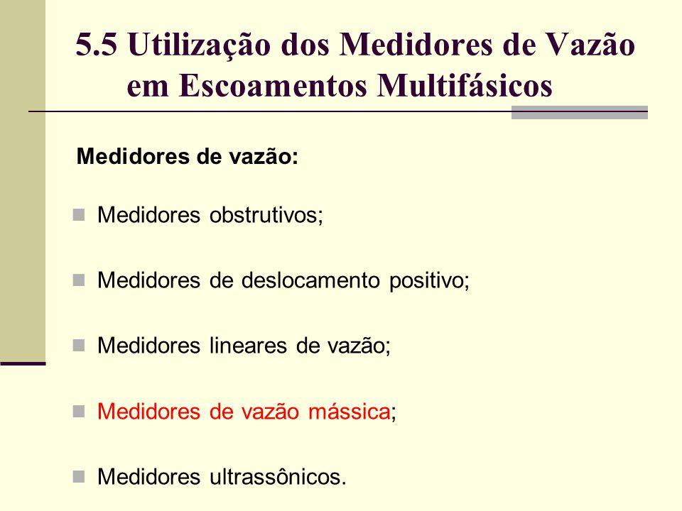 Medidores obstrutivos; Medidores de deslocamento positivo; Medidores lineares de vazão; Medidores de vazão mássica; Medidores ultrassônicos.