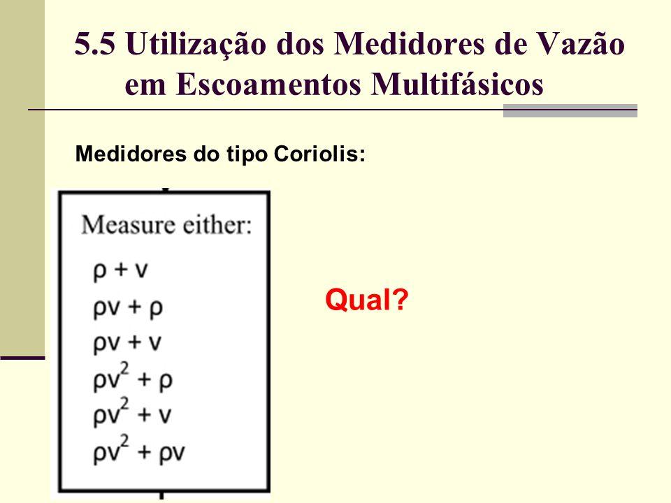5.5 Utilização dos Medidores de Vazão em Escoamentos Multifásicos Medidores do tipo Coriolis: Qual?