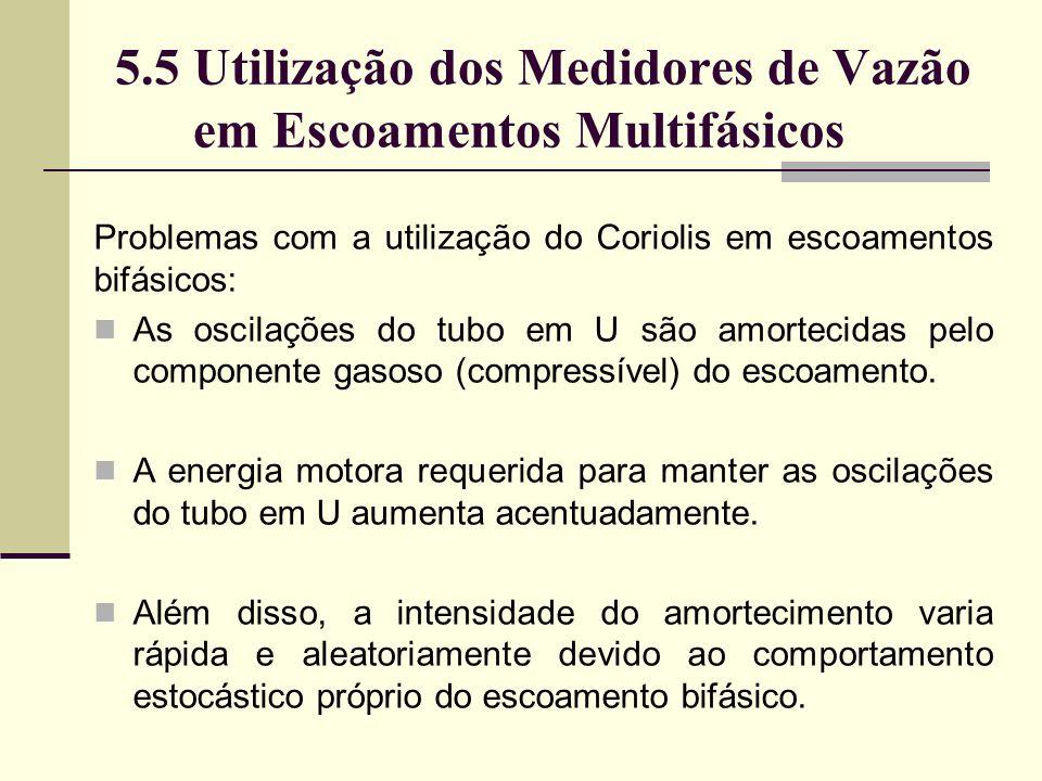 5.5 Utilização dos Medidores de Vazão em Escoamentos Multifásicos Problemas com a utilização do Coriolis em escoamentos bifásicos: As oscilações do tubo em U são amortecidas pelo componente gasoso (compressível) do escoamento.