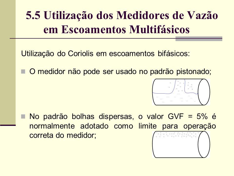 5.5 Utilização dos Medidores de Vazão em Escoamentos Multifásicos Utilização do Coriolis em escoamentos bifásicos: O medidor não pode ser usado no padrão pistonado; No padrão bolhas dispersas, o valor GVF = 5% é normalmente adotado como limite para operação correta do medidor;