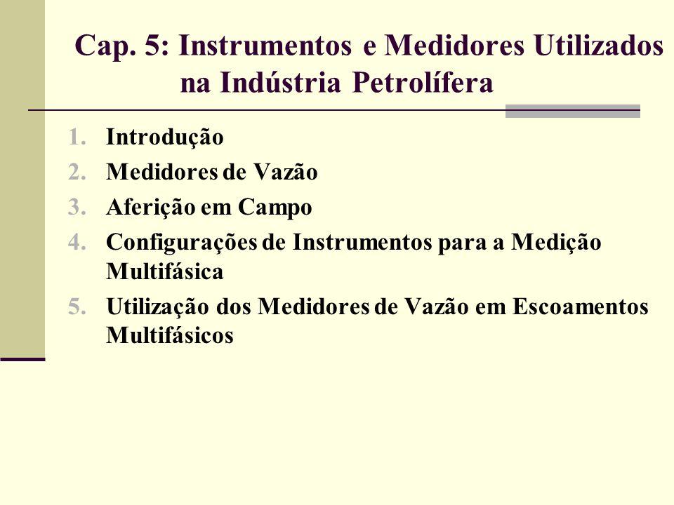 5.2 Medidores de Vazão Aplicações várias envolvendo óleos crus contendo material particulado; Terminais de carregamento de asfalto.