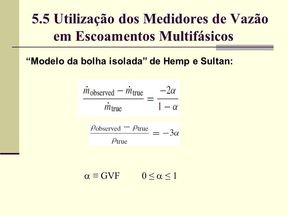 5.5 Utilização dos Medidores de Vazão em Escoamentos Multifásicos Modelo da bolha isolada de Hemp e Sultan: GVF0 1
