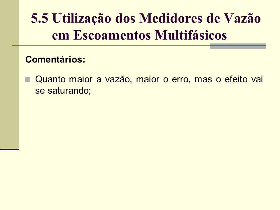 5.5 Utilização dos Medidores de Vazão em Escoamentos Multifásicos Comentários: Quanto maior a vazão, maior o erro, mas o efeito vai se saturando;