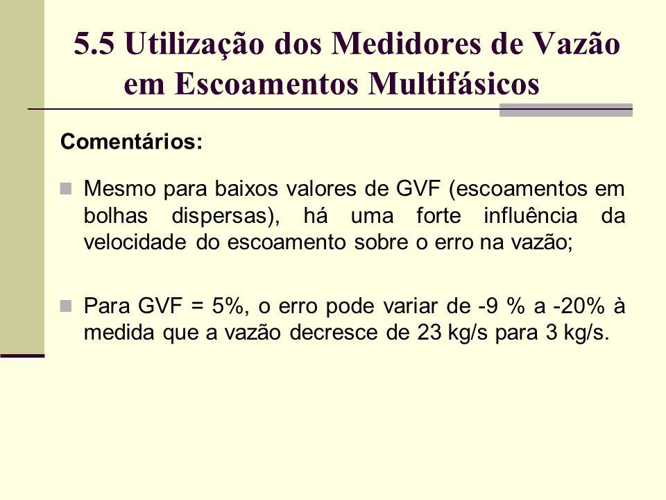 5.5 Utilização dos Medidores de Vazão em Escoamentos Multifásicos Comentários: Mesmo para baixos valores de GVF (escoamentos em bolhas dispersas), há uma forte influência da velocidade do escoamento sobre o erro na vazão; Para GVF = 5%, o erro pode variar de -9 % a -20% à medida que a vazão decresce de 23 kg/s para 3 kg/s.