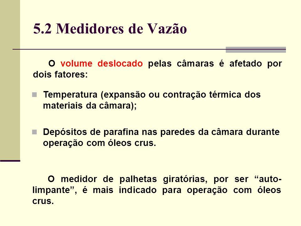 5.2 Medidores de Vazão Temperatura (expansão ou contração térmica dos materiais da câmara); Depósitos de parafina nas paredes da câmara durante operação com óleos crus.