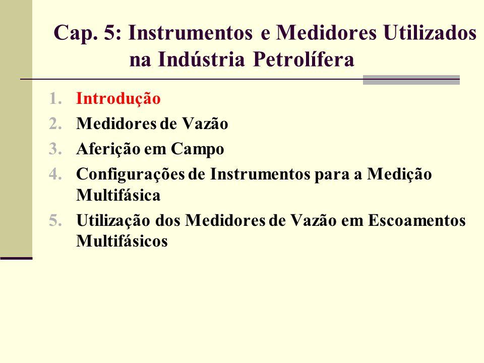 5.2 Medidores de Vazão Medidores obstrutivos; Medidores de deslocamento positivo; Medidores lineares de vazão; Medidores de vazão mássica; Medidores ultrassônicos.