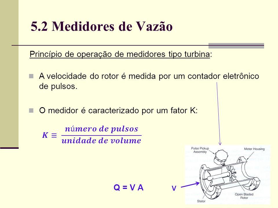 5.2 Medidores de Vazão Princípio de operação de medidores tipo turbina: A velocidade do rotor é medida por um contador eletrônico de pulsos.