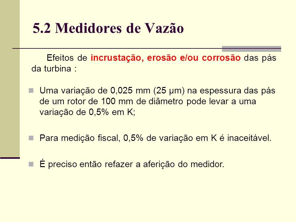 5.2 Medidores de Vazão Efeitos de incrustação, erosão e/ou corrosão das pás da turbina : Uma variação de 0,025 mm (25 μm) na espessura das pás de um rotor de 100 mm de diâmetro pode levar a uma variação de 0,5% em K; Para medição fiscal, 0,5% de variação em K é inaceitável.
