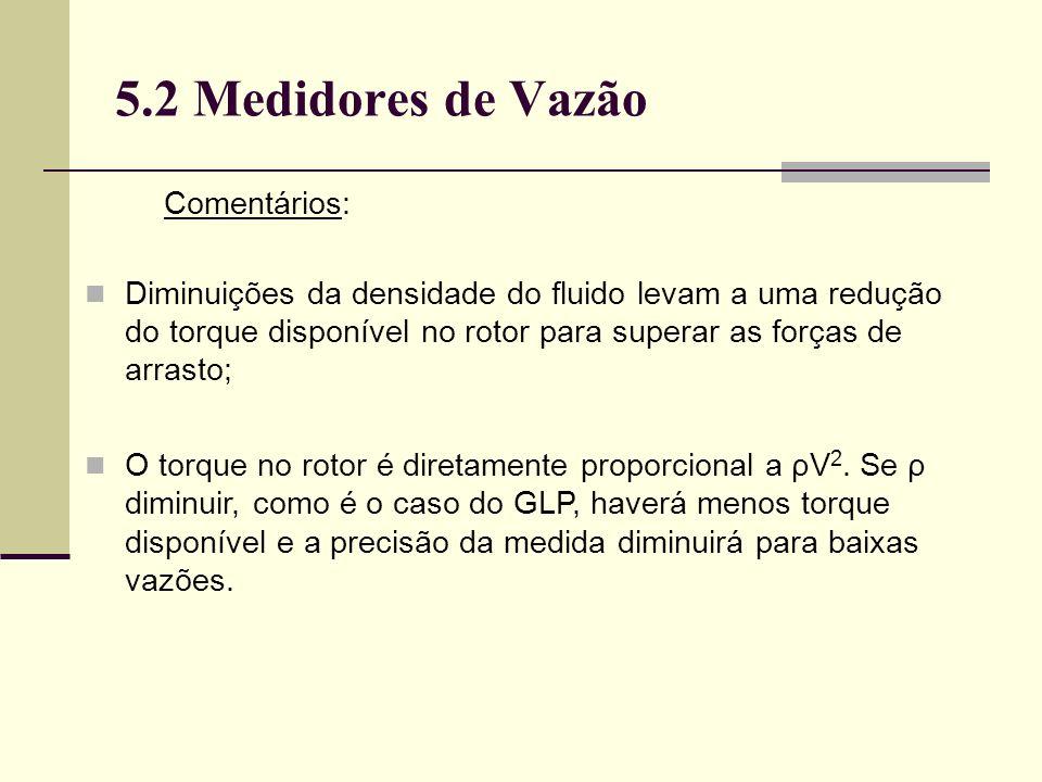 5.2 Medidores de Vazão Diminuições da densidade do fluido levam a uma redução do torque disponível no rotor para superar as forças de arrasto; O torque no rotor é diretamente proporcional a ρV 2.
