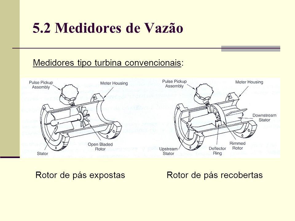 5.2 Medidores de Vazão Medidores tipo turbina convencionais: Rotor de pás expostas Rotor de pás recobertas