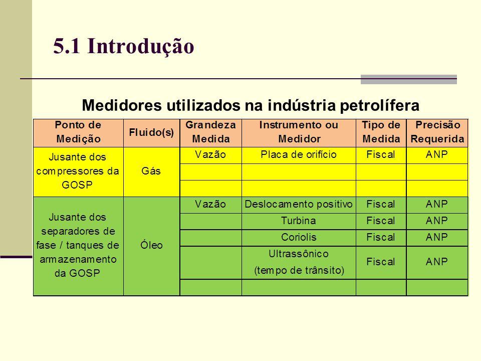 5.2 Medidores de Vazão Condições operacionais do Altosonic V (Khrone): Temperatura ambiente- 40 a + 60ºC Concentração máxima de sólidos (bem misturados) < 5% em volume Fração máxima de gás (bem disperso)< 2% Fração máxima de água no óleo 1 m/s 2 m/s