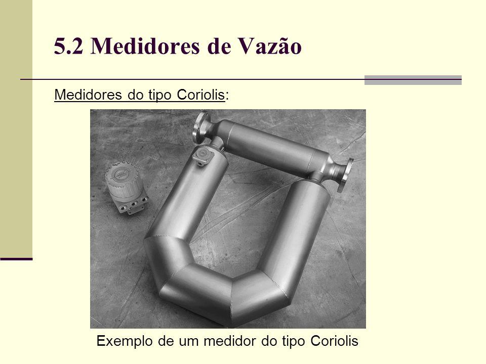 5.2 Medidores de Vazão Medidores do tipo Coriolis: Exemplo de um medidor do tipo Coriolis