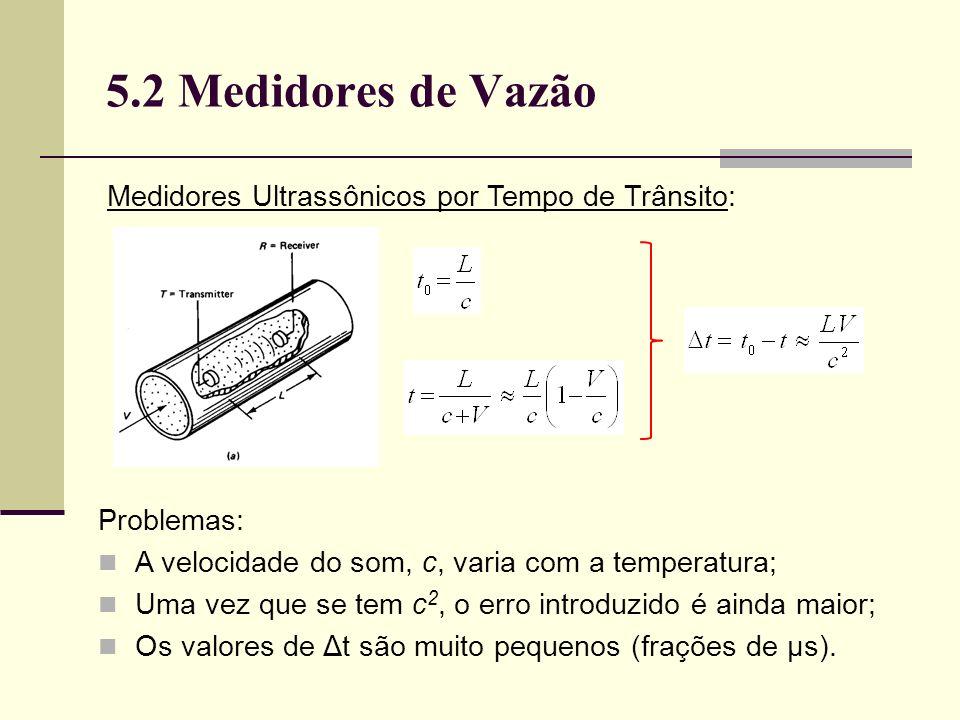5.2 Medidores de Vazão Medidores Ultrassônicos por Tempo de Trânsito: Problemas: A velocidade do som, c, varia com a temperatura; Uma vez que se tem c 2, o erro introduzido é ainda maior; Os valores de Δt são muito pequenos (frações de μs).