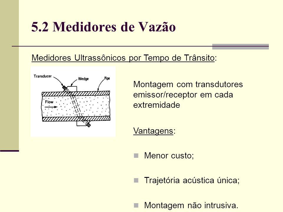 5.2 Medidores de Vazão Medidores Ultrassônicos por Tempo de Trânsito: Montagem com transdutores emissor/receptor em cada extremidade Vantagens: Menor custo; Trajetória acústica única; Montagem não intrusiva.