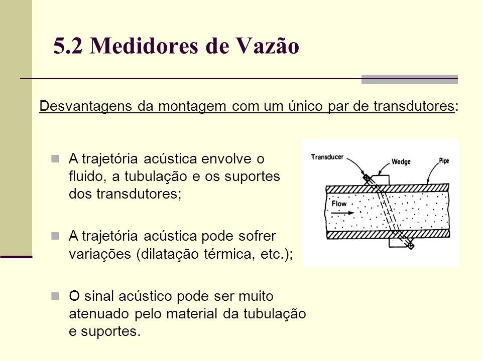 5.2 Medidores de Vazão A trajetória acústica envolve o fluido, a tubulação e os suportes dos transdutores; A trajetória acústica pode sofrer variações (dilatação térmica, etc.); O sinal acústico pode ser muito atenuado pelo material da tubulação e suportes.