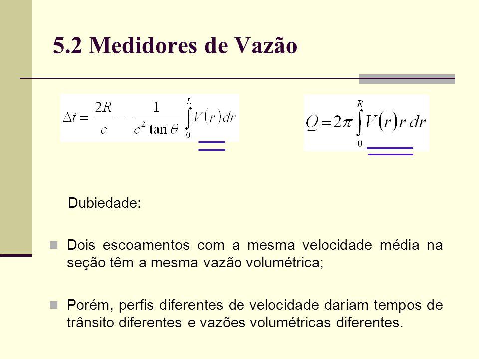 5.2 Medidores de Vazão Dubiedade: Dois escoamentos com a mesma velocidade média na seção têm a mesma vazão volumétrica; Porém, perfis diferentes de velocidade dariam tempos de trânsito diferentes e vazões volumétricas diferentes.