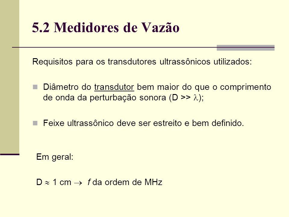 5.2 Medidores de Vazão Requisitos para os transdutores ultrassônicos utilizados: Diâmetro do transdutor bem maior do que o comprimento de onda da perturbação sonora (D >> ); Feixe ultrassônico deve ser estreito e bem definido.