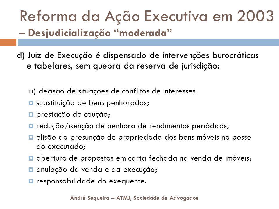 André Sequeira – ATMJ, Sociedade de Advogados Reforma da Ação Executiva em 2003 – Desjudicialização moderada d) Juiz de Execução é dispensado de inter