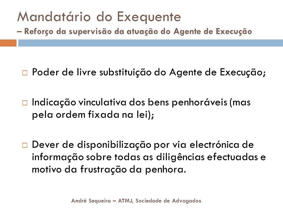 André Sequeira – ATMJ, Sociedade de Advogados Mandatário do Exequente – Reforço da supervisão da atuação do Agente de Execução Poder de livre substitu
