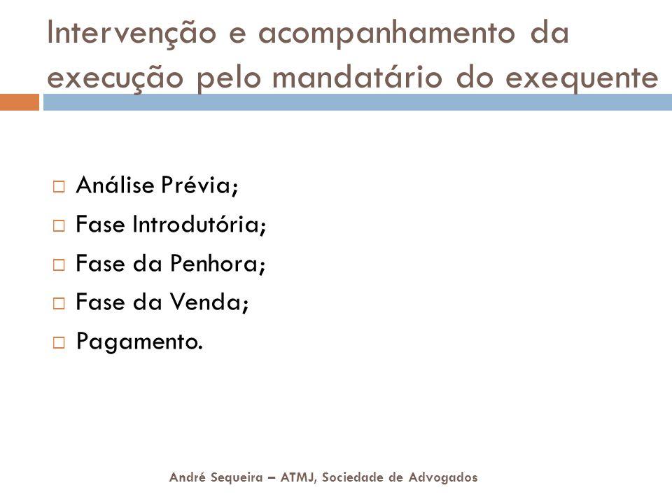 André Sequeira – ATMJ, Sociedade de Advogados Intervenção e acompanhamento da execução pelo mandatário do exequente Análise Prévia; Fase Introdutória;